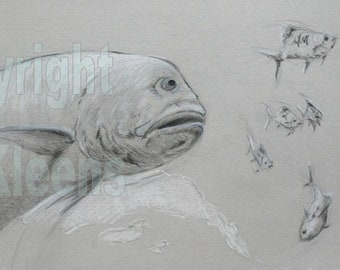 Jack Trevally Art Drawing Pelagic Sealife Sportfish Colored Pencil Wall Art Home Decor Original Unique Gift by TJ Kleens