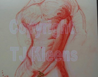 Original Male Torso Nude Figure Drawing Modern Wall Art Drawing Painting Home Decor Pastel
