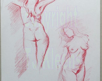 Original Nude Femal Woman Figure Drawing Modern Wall Art Drawing Painting Home Decor