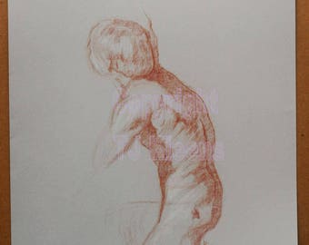 Original Male Torso Nude Figure Drawing Modern Wall Art Drawing Painting Home Decor