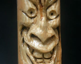 Carving Eerie Creepy Scary Horror Tiki Happy Ornament Weird Sculpture Talisman Hand Carved Woodcarving