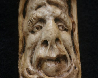 Old Man Wizard Gnome Hobbit Frumpy Grumpy Tree Face Wood Spirit Ornament Sculpture Talisman Hand Carved Woodcarving