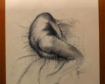 Original Charcoal Male Torso Nude Figure Drawing Modern Wall Art Drawing Painting Home Decor