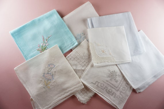 FREE SHIPPING Vintage Bridal Wedding Embroidered Handkerchief Something Old Linen Cotton Something Blue Hankies Shower Gift Blue Hanky