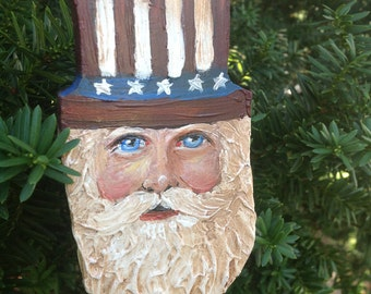 Coventry Santa with Uncle Sam Hat Christmas Ornament