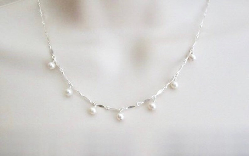 Dainty Pearl Necklace. White Pearl Necklace. Sterling Silver Sterling Silver