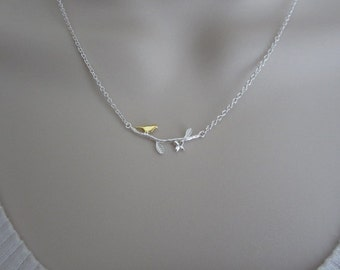 Sterling Silver Bird Branch Necklace. Gold Bird Branch Necklace. Gift for Her. Bird Branch Necklace. Layering Necklace. Gold Bird Necklace.