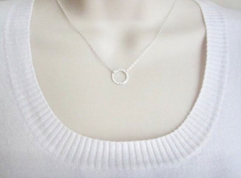 Eternity Charm Karma Necklace Circle of Life Friendship Gift. Minimal Necklace Sterling Silver Circle Necklace Layered Necklace