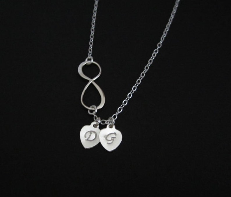 a0ac1493c7d98 Personalized Sterling Silver Infinity Necklace. Initial Heart Charm  Necklace. Minimal Necklace. Gift for Her. Customized Heart Charm.