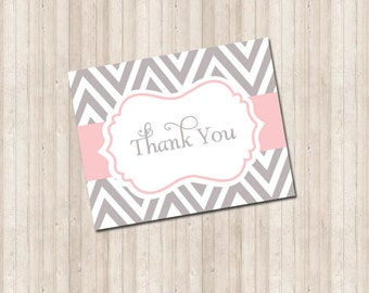 Thank You Card - Chevron gray & pink