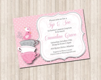 Sip and See Baby Shower Tea Invitation
