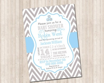 Custom Chevron Baby Boy Chevron Invitation in light blue with blocks