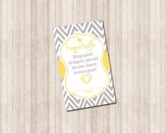 Diaper Raffle Card - Chevron gray and yellow - Printable custom