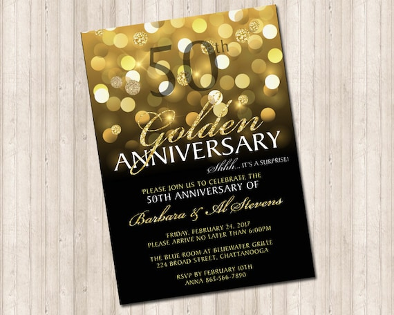 Fiftieth Wedding Anniversary Invitations: 50th Golden Wedding Anniversary Invitation In Gold Glitter