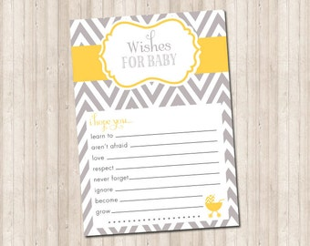 Wishes for Baby in gray and yellow chevron game card