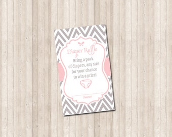 Diaper Raffle Card - Chevron gray and pink - Printable custom