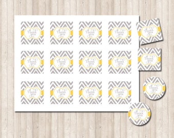 Printable Thank You Tags Labels in chevron gray and yellow custom