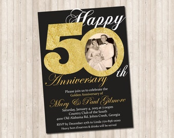 50th Golden Anniversary Invitation with picture