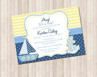 Custom Nautical Baby Shower Invitation- chevron yellow and blue polka dot