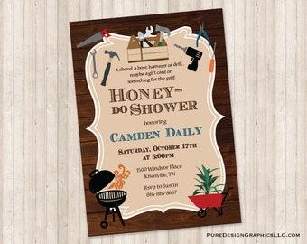 Tools Honey Do Shower Invitation Garden Couples Shower Man Shower