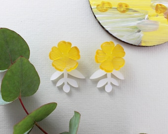 Bloom Earrings/Yellow/White - Laser cut acrylic & sterling silver earrings - Statement Earrings