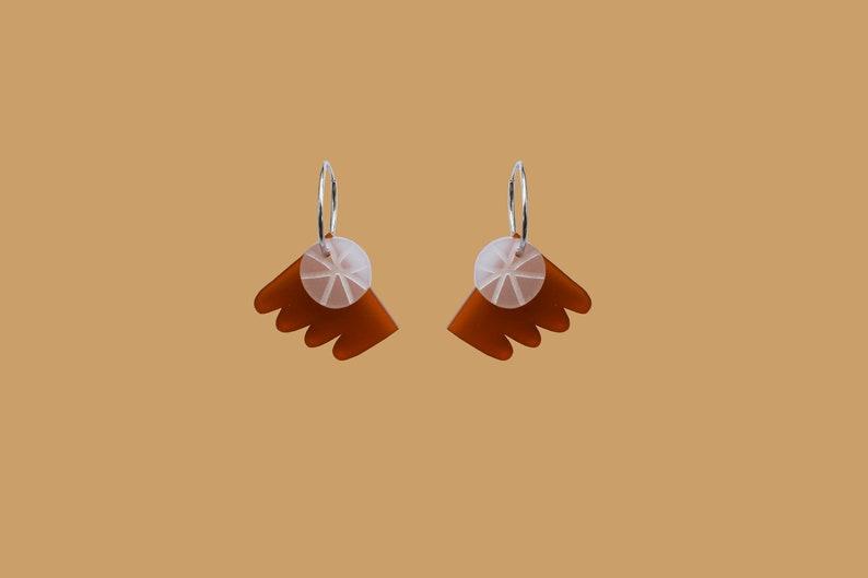 White Frost Abstract Hoop Earring Acrylic /& Sterling silver earring Interchangeable Earring Rust Red