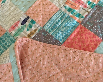 One of a kind, Baby Quilt, Toddler Quilt, Lap Quilt, handmade, pink and mint, boho, bohemian, nursery decor, baby girl