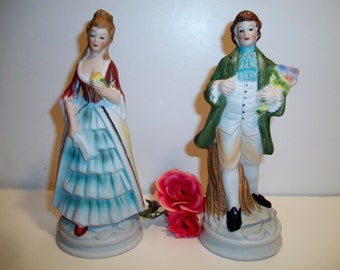 Vintage Victorian Couple Figurines Courting Colonial Statues Romantic Loving
