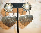Large Pearl French Coin Dangle Earrings Bronze Tone Costume Jewelry Fashion Accessories For Her