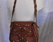 Vintage Tooled Leather Purse Retro Hippie Bag Boho Fashion Accessories For Her