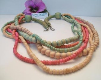 Multi Strand Wooden Bead Necklace Santa Fe Style Pastel Jewelry Fashion Accessories For Her