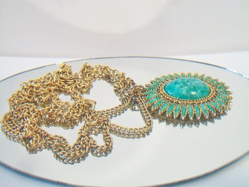 Vintage Celebrity Faux Jade Pendant Necklace Green Petit Point Costume Jewelry
