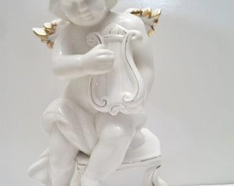Vintage Cherub Angel Playing Harp Figurine Statue Angel Wing Love