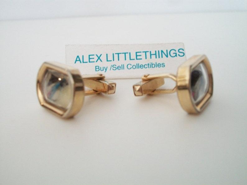 Swank Goldtone  Unique Lucite Encased Fly fishing Hook cufflinks cuff links 1950/'s