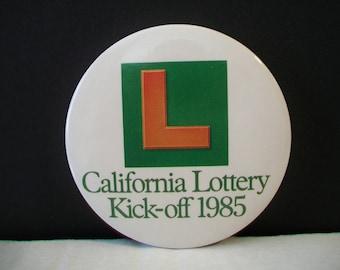 Vintage California Lottery Pinback Kick-off 1985 Button Pin