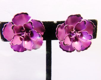 Coro Flower Clip On Earrings Purple Pink Floral Signed Jewelry Fashion Accessories For Her