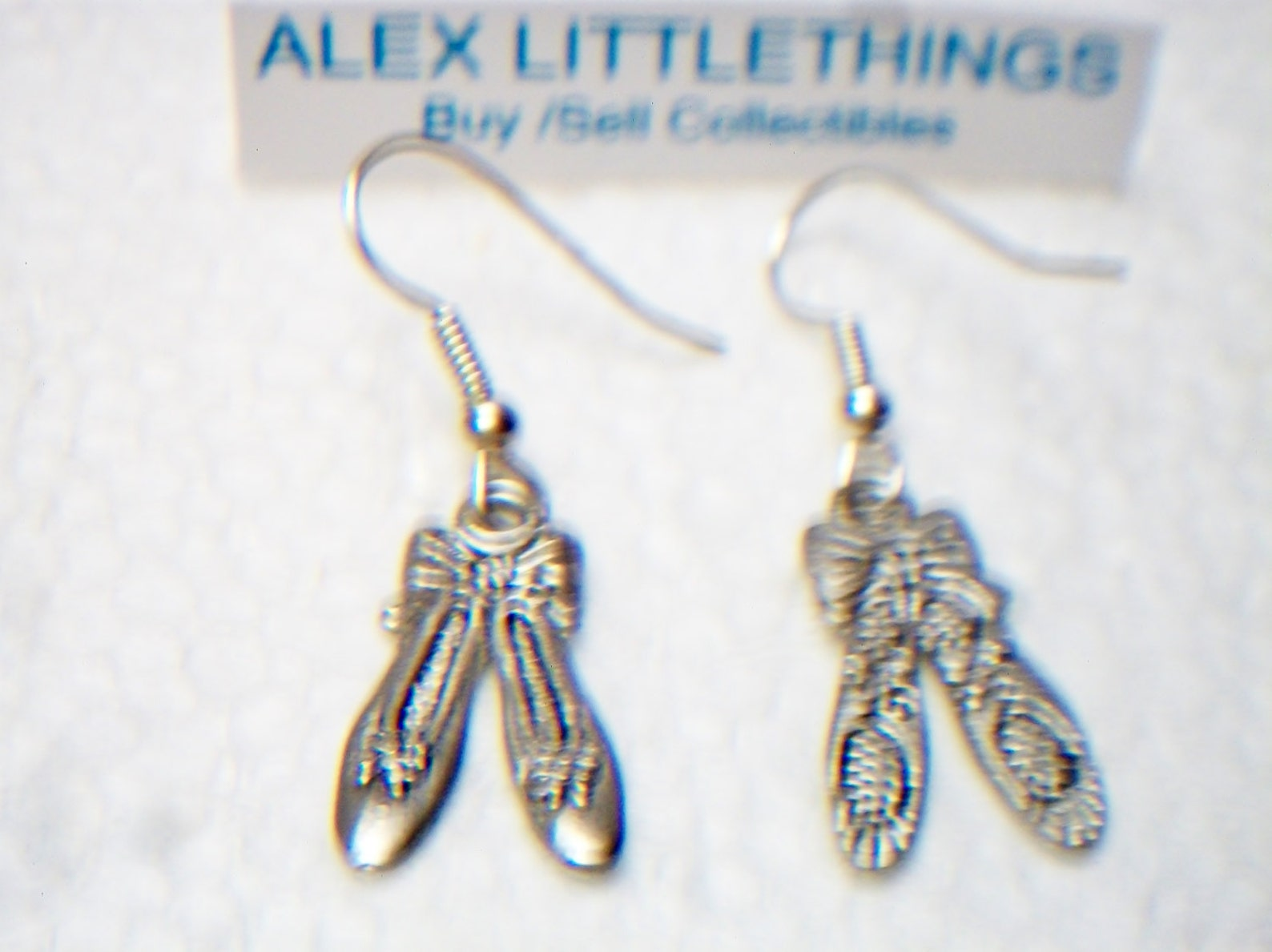 ballet slipper dangle earrings silver tone ballerina charm jewelry fashion accessories for her hand made