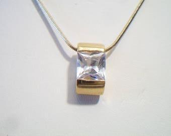 Square Cut rhinestone Pendant Necklace Princess Cut Costume Jewelry Gold Tone Fashion Accessories For Her