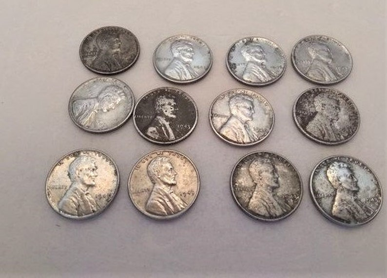 Lot Of 12 1943 WWII Steel Pennies 76 Years Old Collectible Coins