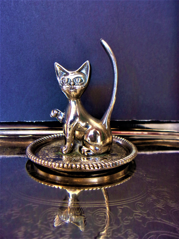 Vintage Silver Cat Ring Holder