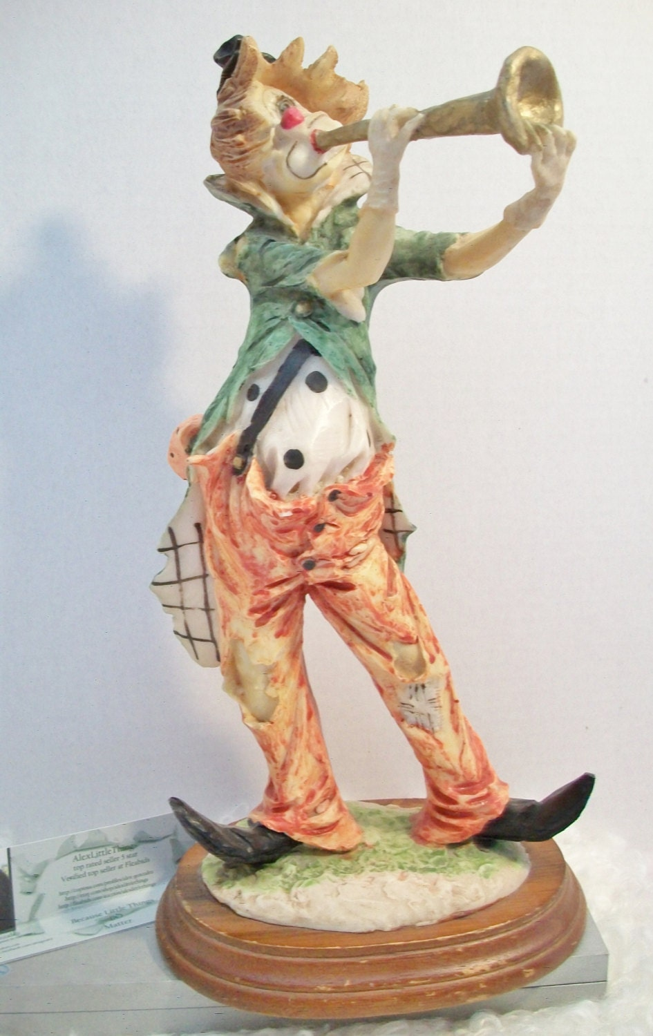 af6905f0bac25 Vintage Hobo Clown Playing Horn Statuette Figurine Retro Collectible ...