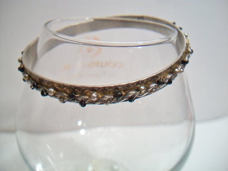 Black Beaded Bangle Bracelet Steampunk Goth Swirl Spiral Design Costume Jewelry