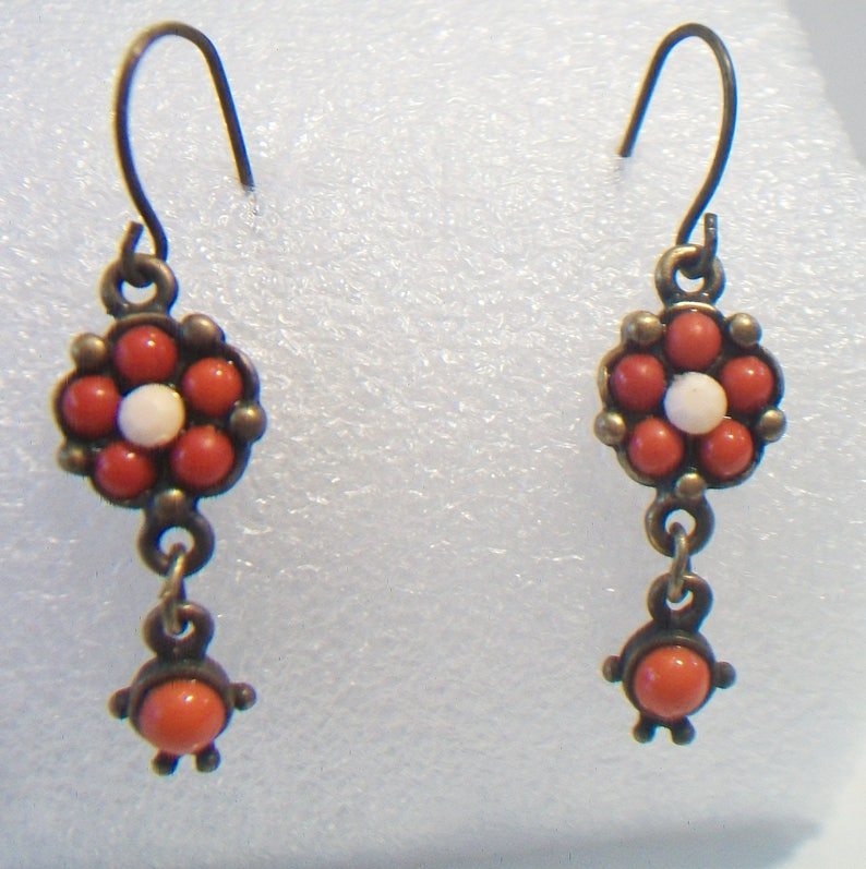 SALE Red Orange Floral Earrings Dangle Drop Beaded Flower Jewelry Boho Fashion Accessories For Her SALE