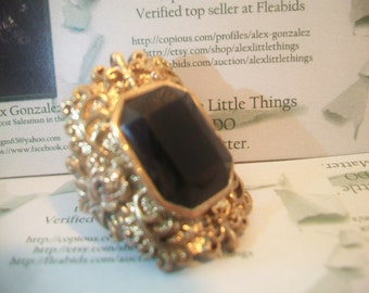 Ornate Black Emerald Cut Ring Gothic Steampunk Costume Jewelry Fashion Accessories For Her