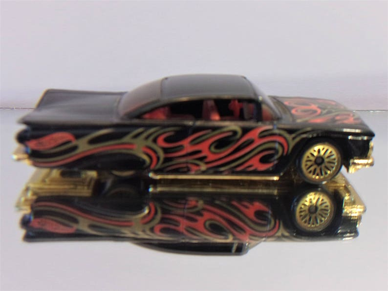 Vintage 1959 Chevy Impala Custom Black Gold Red Paint Gold Color Bottom Gold Color Wheels 1996 Hot Wheels Dropped Lowrider 1 64 Diecast