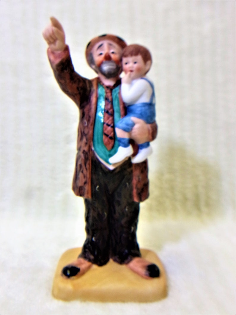Emmett Kelly Clown Figurine Circus Collection Holding Child Pointing Signed Vintage 1989 Collectible Home Decor