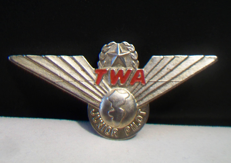 Vintage TWA Junior Pilot Wings Pin Airlines Uniform Accessories Retro Korea