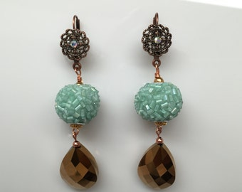 Copper and Aqua Beaded Earrings