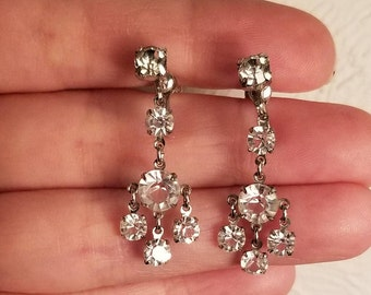 Vintage Silver Tone Dangle / Drop Earrings With Clear Rhinestones