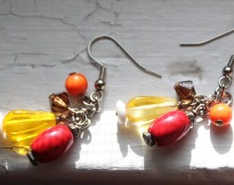Vintage 1990's Beaded Dangle Earrings